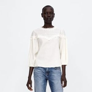 NWT Zara Size L Lace Flowing Blouse